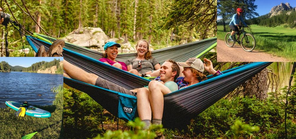 Vacation time is short.  Relax in a hammock.  Rent a bicycle for the Mickelson Trail.  Paddle a SUP around the lake.